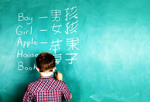 英語と中国語を書くバイリンガルの少年の画像