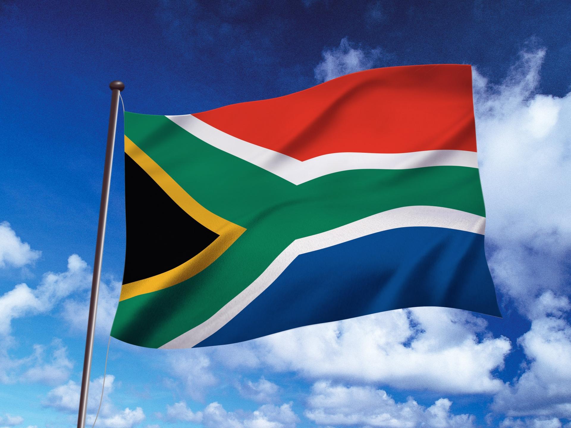 南アフリカ共和国の国旗が風にたなびいている画像