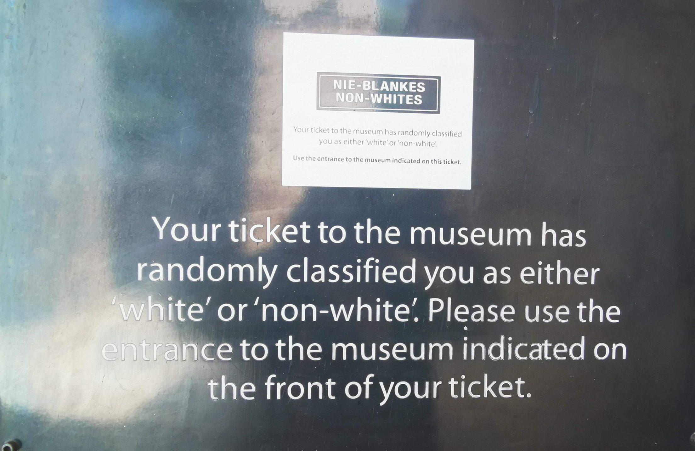 アパルトヘイトミュージアムの入場チケットの写真