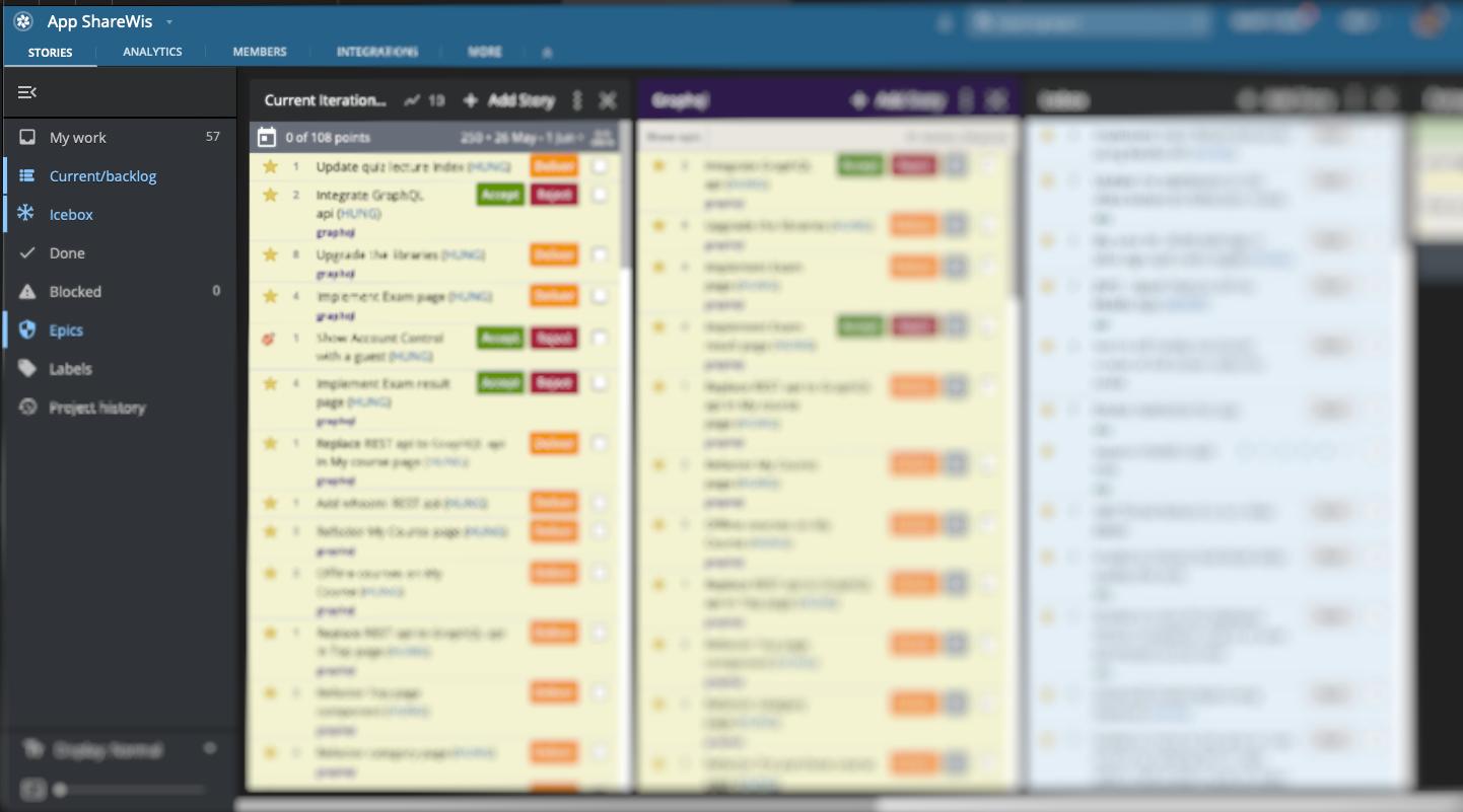 株式会社シェアウィズで使っているPivotal Trackerのスクリーンショット画像